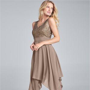 VENUS Dress Party Sequin Detail Chiffon Taupe Sz 4
